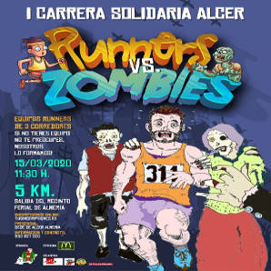 Cartel carrera solidaria Alcer Almería runners vs zombies