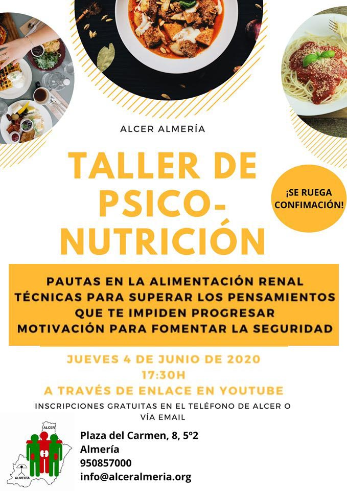 Cartel taller on-line psico nutrición